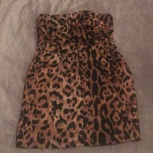 The Limited Leopard strapless dress